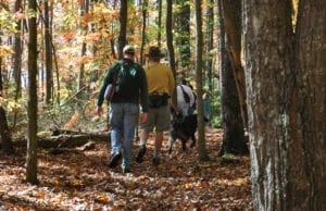 Family and dog hiking in Anderson County TN